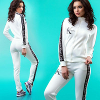 """Calvin Klein"" Women Fashion Cardigan Jacket Sweatshirt Pants Sweatpants Set Two-Piece Sportswear"