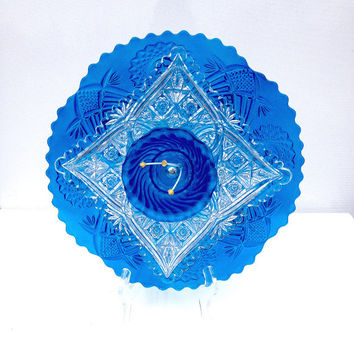 Blue Diamond Garden Art, Recycled Glass Plate Flower, Outdoor Garden Decor, Fence Decor, Wall Art, Garden Sculpture, Gardener Gift