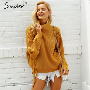 Simplee Side lace up sweaters woman winter Turtleneck batwing sleeve Loose pullover casual women jumper pull femme