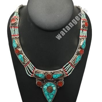 Ethnic Tribal Nepalese tribal Green Turquoise & Red Coral Inlay Necklace, E265