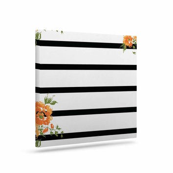"NL Designs ""Orange Floral Stripes"" Black Floral Canvas Art"