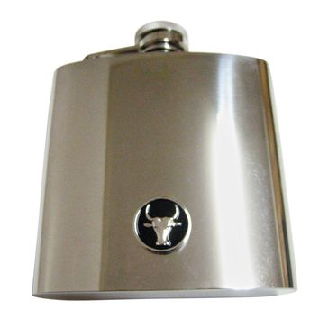 Round Bull 6 Oz. Stainless Steel Flask