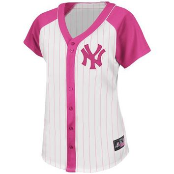 MLB Majestic New York Yankees Women's Fashion Replica Jersey - White/Pink