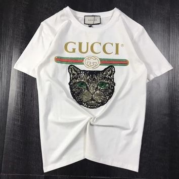 DCCK8H2 GUCCI 2018 Catwalk Model T-Shirt Embroidery Sequin Cat Shirt Tunic Blouse Trending Top