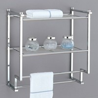 A.M.B. Furniture & Design :: Bathroom Accessories :: Bathroom shelves :: 2 tier wall mounted chrome finish metal shelf with towel bars