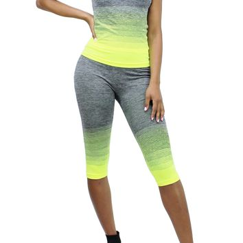 Neon Yellow Workout Sleeveless Tank Top and Capri Skinny Leggings Set