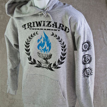 Harry Potter SweatShirt TriWizard Tournament Hoodie. Blue Flame of the Goblet of Fire Spits Out Harry Potter's Name! Great for Comicon etc!
