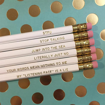 SHUT UP Pencil Set in White and Gold