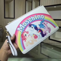 Moschino Fashion new rainbow three unicorn letter hand wallet bag White