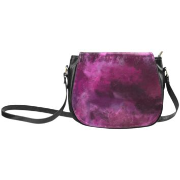 Women Shoulder Bag Magenta Storm Oil Painting Classic Saddle Bag Large