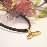 Sale! Leather necklace. Gold tail. Whale tail. Necklace for Men. Women's necklace. Gift Ideas.