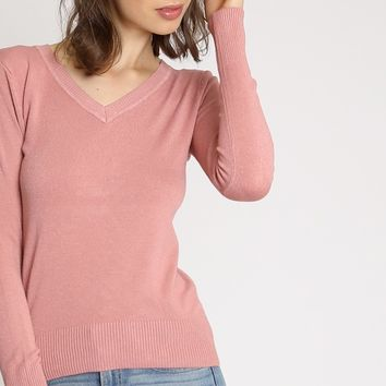 Next Destination V-Neck Sweater In Pink | Ruche
