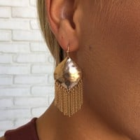 Waterfall Fringe Earrings in Gold