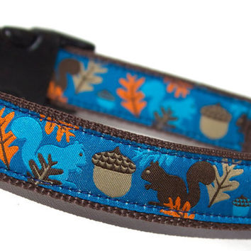 Dog Collar with Squirrel and Acorn Theme by COZYHORSE on Etsy