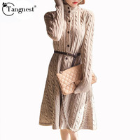 Long Sweater  Dress 2016 Fall Winter Fashion Plus Size Cable Vintage Single-breasted Knee-length Belt Knitted Maxi Dress WQL2828