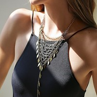 Free People Womens Chainmail Bandana Necklace