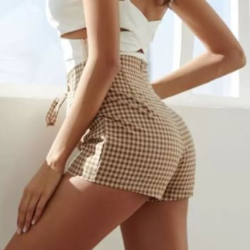 Summer Women Casual Plaid High Waist Shorts