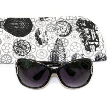 Slide in Sunglass Case or Eyeglass Case Steam Away Black and White  Choose Your Size