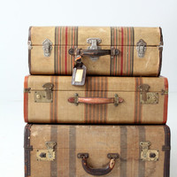 1930s suitcase, striped luggage