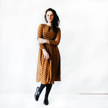 Spring summer woman dress\Carolina dot dress\Polka dot pattern\Long sleeve dress\Vintage dress
