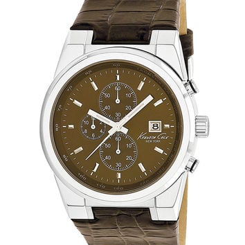 Kenneth Cole KC1766 Men's Chronograph Brown Dial Leather Strap Watch