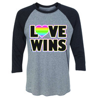 Zexpa Apparel™ Love Wins - Love is Love Gay is Good 3/4 Sleevee Raglan Tee Gay Pride Tee