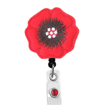Pansy (Red) - Name Badge Holder - Nurses Badge Holder-Cute Badge Reels - Unique ID Badge Holder - Felt Badge - RN Badge Reel - Retractable