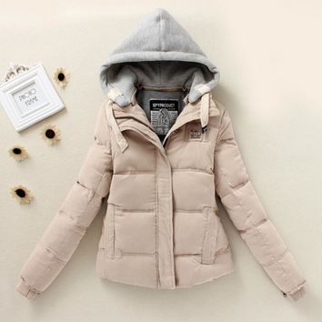 Fashion Women Long Sleeve Parkas Winter Warm Cardigan Coat Thickening Cotton Winter Hoodie Jacket Parkas Beige