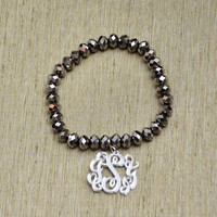 Birthday Gift - Handcrafted Monogram Beads Bracelet - 1 inch Circle Personalized Monogram Acrylic Custom Made. Silver mirror monogram