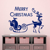 Christmas Wall Decal Deer Decal Holiday Stickers Merry Christmas Vinyl Letters Home Decor Living Room Window Design Interior Animal Art KI40