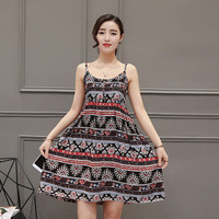 SIMPLE - Popular Women's Fashionable Floral Retro Tribal Casual Sleeveless Chiffon Spaghetti Strap Party Beach Summer Mini Dress b3035