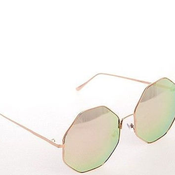 """NEW OVERSIZE  Retro Vintage """"Kiss and Tell"""" Octagon Mirror Sunglasses ROSE GOLD"""