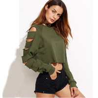 Army Green Cropped Sweatshirt with Ripped Sleeves