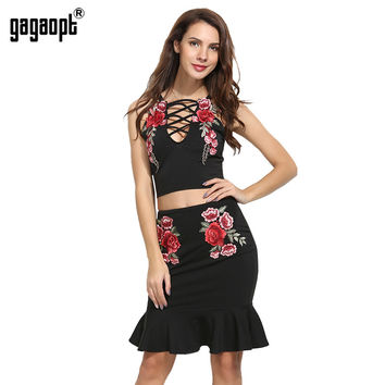 Gagaopt Summer Dresses Lace Up Women 2 Pieces Bandage Dresses for Party Embroidery Bodycon Vantage Mermaid Dress Vestidos Robes