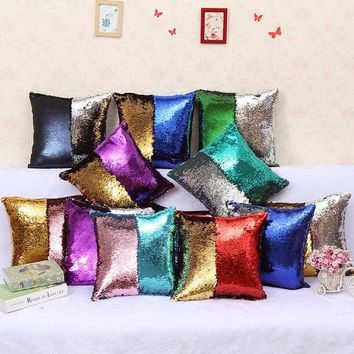 Creative Mermaid Sequin Pillow Magical Color Changing Reversible Sequin Throw Pillow Home Decor Cushion Decorative Pillowcase