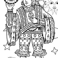 coins man tarot card Colouring Page Adult Colouring Page Kids Colouring Page Gifts for Kids Kids Craft Activity digital stamp printables