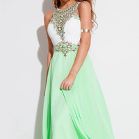 2016 New Arrival Rachel Allan Elegant A-line Chiffon Prom dresses Boho Style Light Green Blue evening gowns with Beaded crystals