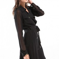 Sheer Chiffon Trench Coat