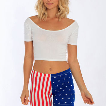 Miami Style® - US Flag Print Fitted Cotton / Spandex Short
