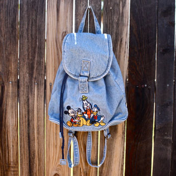 Vintage 90's Disney Embroidered Denim Mini Backpack - Childs Bag - Festival Bag