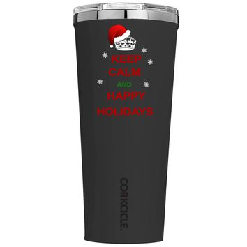 Corkcicle Keep Calm and Happy Holidays on Black 24 oz Tumbler Cup