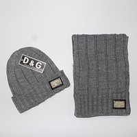 Perfect D&G Women Men Winter Knit Hat Cap Scarf Set Two-Piece