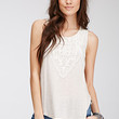 Crochet-Paneled Heathered Top