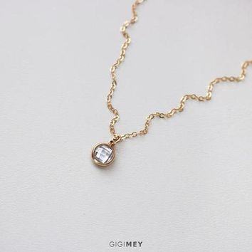 Dainty CZ Circle Necklace, Tiny Diamond Disc