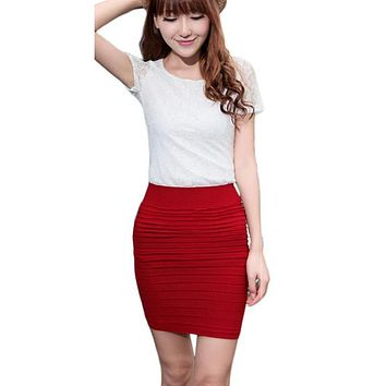 High Waist Short Solid Colored Skirts