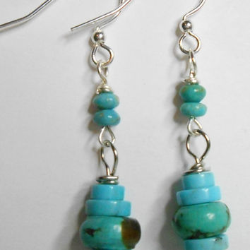 Magnesite Blue Green Gemstone Silver Earrings