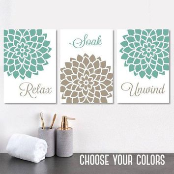 Seafoam Beige BATHROOM Wall Art, CANVAS or Prints, Seafoam Bathroom Wall Decor, Relax Soak Unwind, Bathroom Quote Pictures, Set of 3