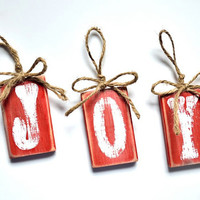 Rustic Christmas Ornament Set Hand Painted Joy Blocks Red and White Christmas and Holiday Decor