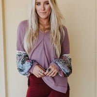 Love Me Printed Sleeve Thermal Top - Plum