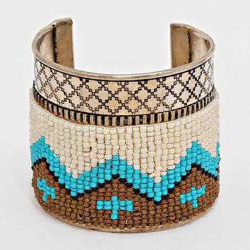 "2.50"" wide boho seed bead bracelet bangle cuff tribal"
